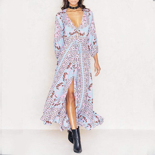 Vintage Style Bohemian Floral Print Summer Dress