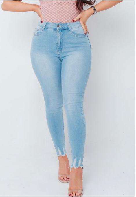 Bleach Blue Hem Skinny Jeans