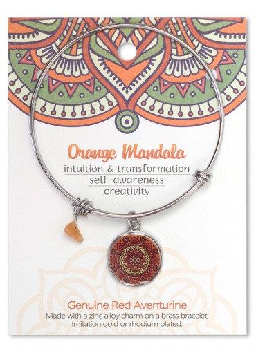 Adjustable Bracelet Mandala Orange Aventurine