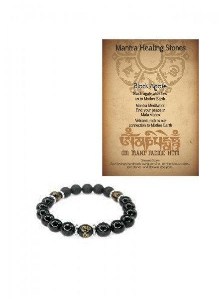 Mantra Healing Bracelet Black Agate