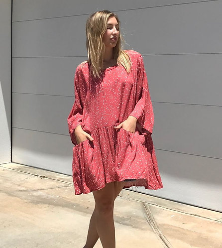 Smock Top in Red with a White Fleck