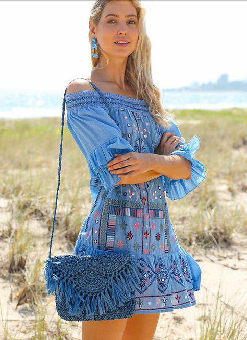 Monica Embroidered Dress in Tulum