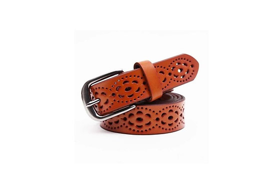 LEATHER BELT Yellow/Brown
