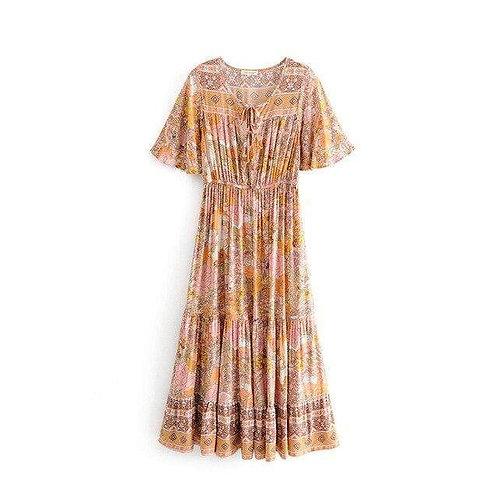 Boho Hippie Floral Print Dress
