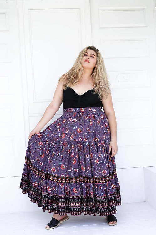 The coveted Delilah Full Maxi Skirt in Lilac Multi print