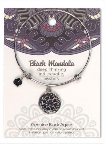 Adjustable Bracelet Mandala Black Agate