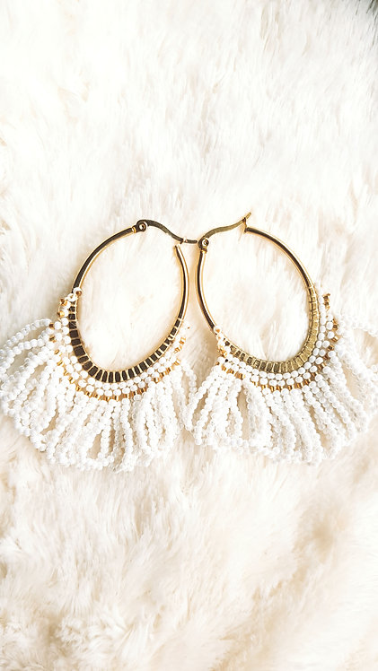 White and Gold Beaded Earring