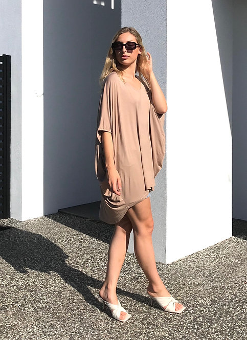 BAMBOO BATWING TOP in Latte