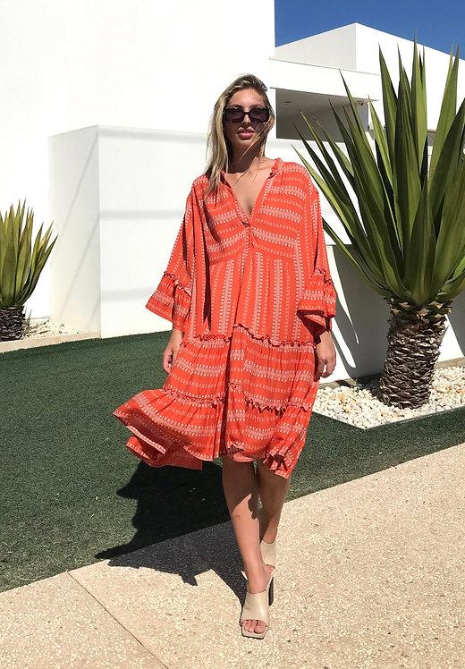 SMOCK DRESS in Coral