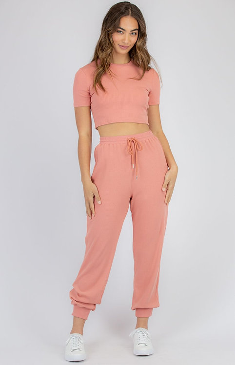 Jersey Rib Set with Crop and Pant in Rose