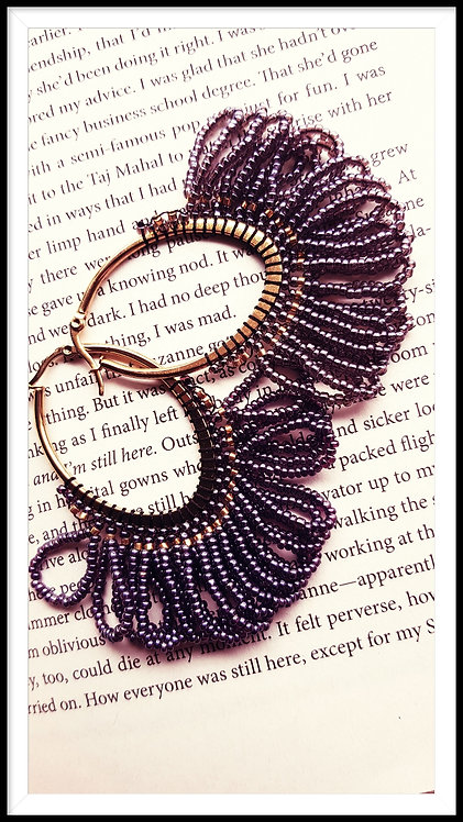Mauve and Gold Beaded Earring
