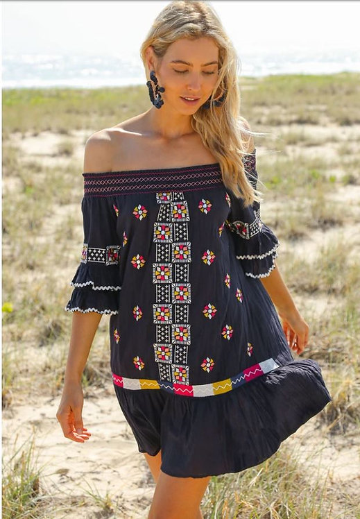 The Monica Embroidered Dress in Tulum Navy