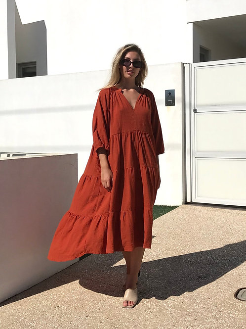 Smock Dress in Rust