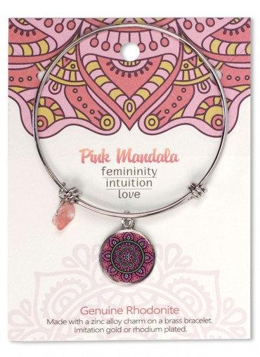 Adjustable Bracelet Mandala Pink Rhodonite