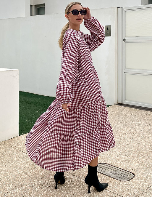 Gingham Dress in Berry
