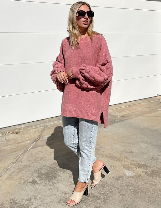 The Puff Sleeved Jersey in Rose