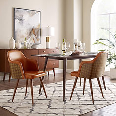 Mid Century Modern Leather Upholstered A