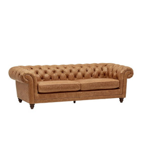 Modern Farmhouse Style Tufted Leather Sofa