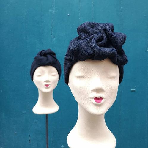 Turban Stirnband aus Wollstoff, schwarz