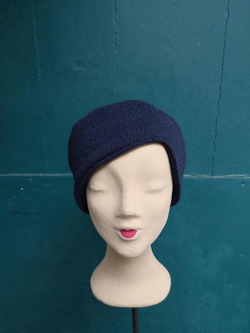 Mütze aus Wollstoff, dunkelblau, assymetrisch