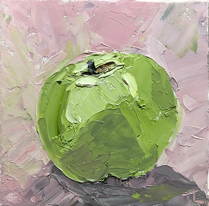 Green apple in pink