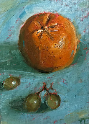 Orange and grapes