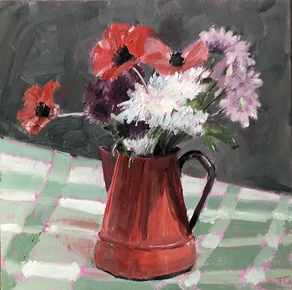 Poppies in a red jug