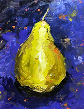 Original oil painting of a pear by TracyLesterArt