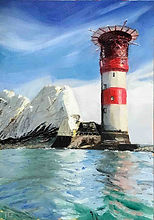 Original oil painting of Needles Lighthouse by TracyLesterArt