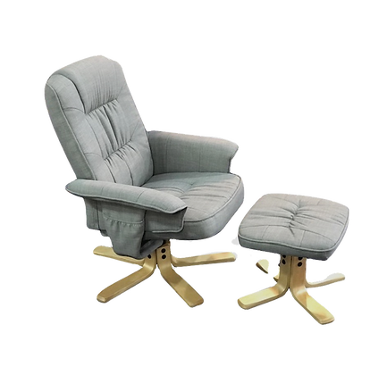 Relaxus Recliner with Footstool - Light Grey