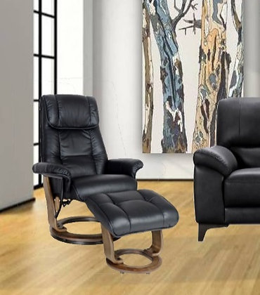Mayfair Leather Chair and Footstool