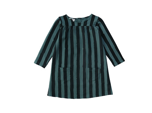 שמלת פסים שחור וירוק