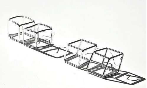 Geometria Metallo Cubo 2 Earrings