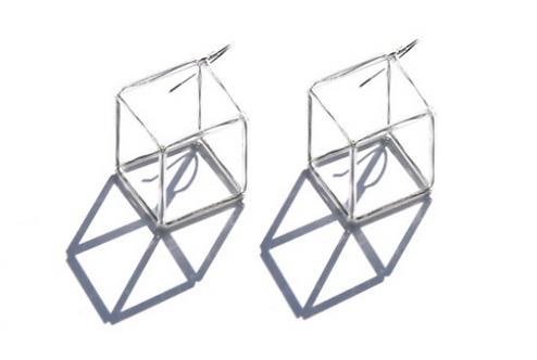 Geometria Vetro Cubo 3 Earrings