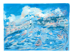 'St Ives In Blue & Peach'
