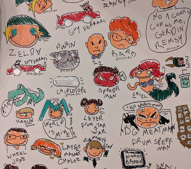shitty sticker: sketchy doodle caricatures of popular nerdy characters