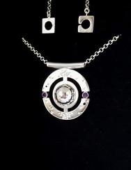 'Solar Eclipse' pendant, side 2. Silver, amethysts. Designed in 2017