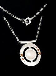 'Solar Eclipse' pendant, side 1. Silver, citrines. Designed in 2017