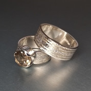 Unique, 100% handmade rings for her and for him. Sterling silver 925, smoky quartz.