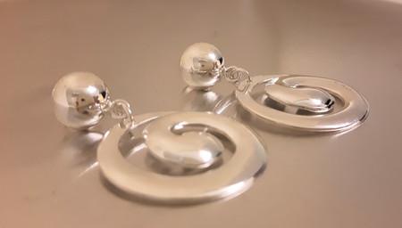 'Helen' earrings in silver. Designed in 2017