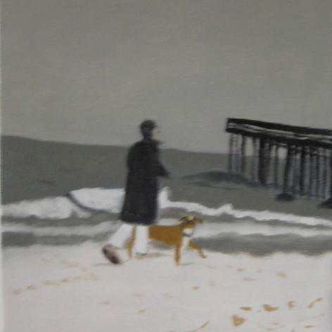ocean grove walking dog in snow