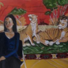 model & tapestry