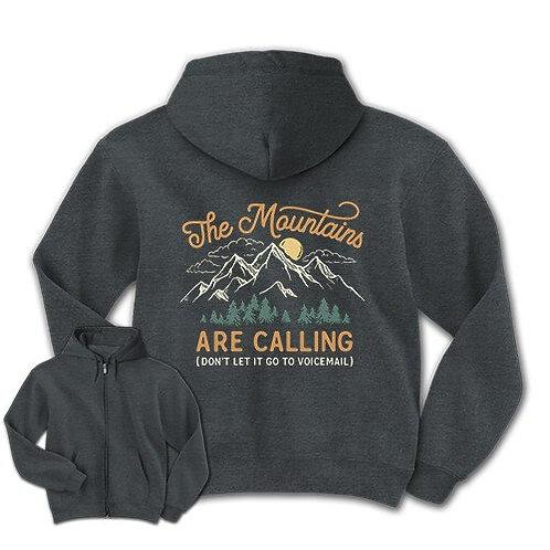 """Mountains Are Calling"" Sweatshirt Zipper-FRONT"