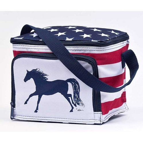 Lunch Cooler-Galloping Red/Wht/Blue Stars/Stripes