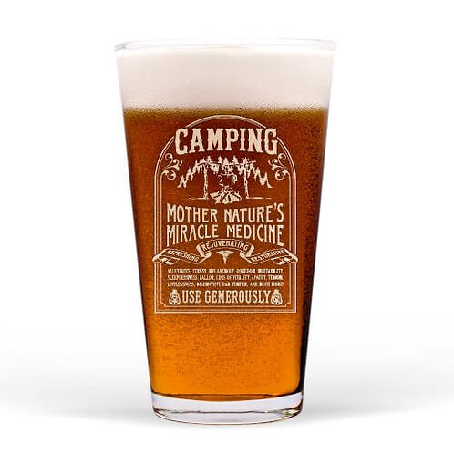 Camping Mother Nature's Cure Guinness Glass