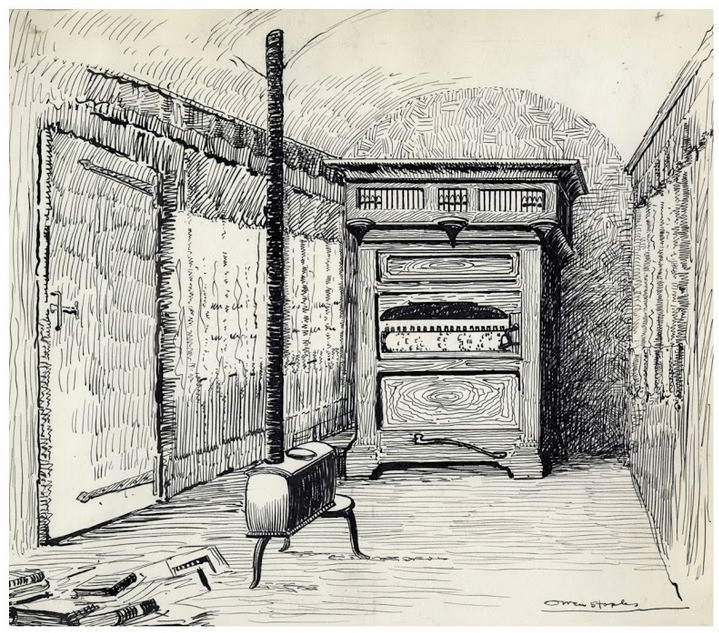 An illustrated image of David Wilson's study