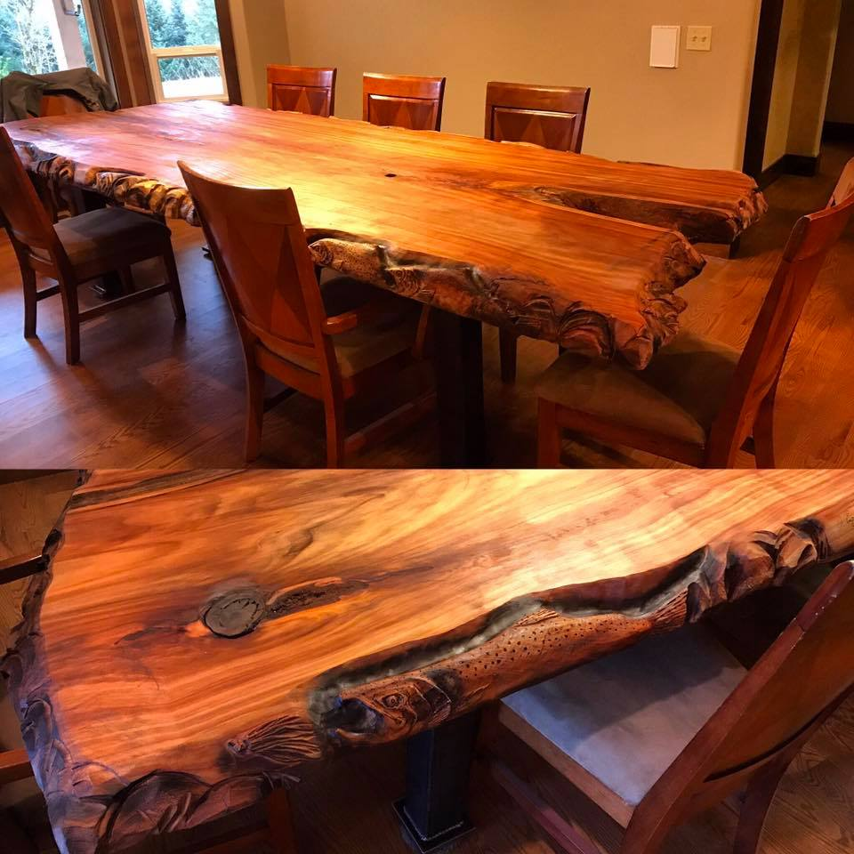 Wood Slab and Metal Table
