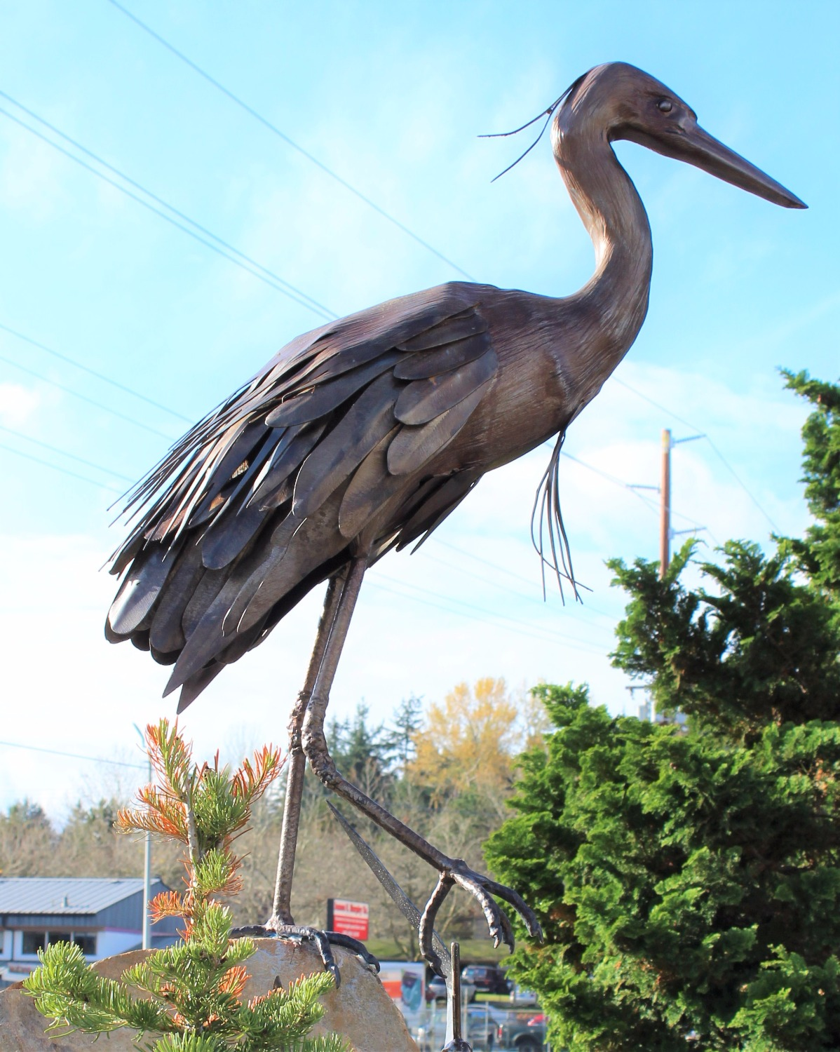 Life Size Metal Great Blue Heron