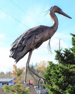 Metal Great Blue Heron Sculpture