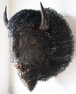 Metal Bison Sculpture